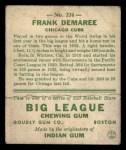 1933 Goudey #224  Frank Demaree  Back Thumbnail