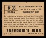 1950 Topps Freedoms War #33   Murderous Fire   Back Thumbnail