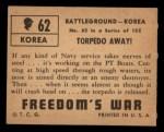 1950 Topps Freedoms War #62   Torpedo Away   Back Thumbnail