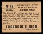 1950 Topps Freedoms War #58   Fighting Armor   Back Thumbnail
