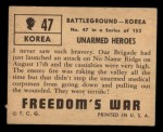 1950 Topps Freedoms War #47   Unarmed Heroes Back Thumbnail