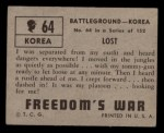 1950 Topps Freedoms War #64   Lost   Back Thumbnail