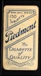 1909 T206 POR Charley O'Leary  Back Thumbnail