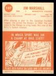 1963 Topps #107  Jim Marshall  Back Thumbnail