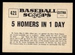 1961 Nu-Card Scoops #421   -   Stan Musial  Hits 5 Homers In One Day Back Thumbnail