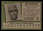1971 Topps #518  Joe Grzenda  Back Thumbnail