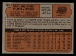 1972 Topps #380  Earl Williams  Back Thumbnail