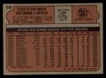 1972 Topps #646  Chico Salmon  Back Thumbnail