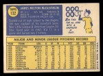 1970 Topps #132  Jim McGlothlin  Back Thumbnail
