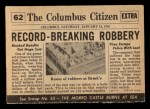 1954 Topps Scoop #62 xCOA  Bandits Rob Brinks  Back Thumbnail