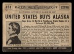 1954 Topps Scoop #151   United States Buys Alaska Back Thumbnail