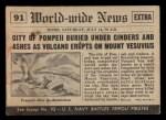1954 Topps Scoop #91   Pompeii Destroyed Back Thumbnail