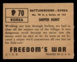 1950 Topps Freedoms War #70   Sniper Hunt Back Thumbnail