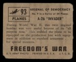 1950 Topps Freedoms War #93   A-26 Invader   Back Thumbnail