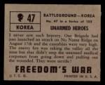 1950 Topps Freedoms War #47   Unarmed Heroes   Back Thumbnail