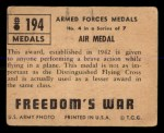 1950 Topps Freedoms War #194   Air Medal  Back Thumbnail