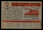 1956 Topps #42  Tom Fears  Back Thumbnail
