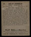 1939 Play Ball #27  Fritz Ostermueller  Back Thumbnail