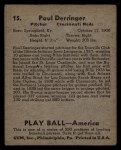 1939 Play Ball #15  Paul Derringer  Back Thumbnail