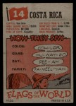 1956 Topps Flags of the World #14   Costa Rica Back Thumbnail