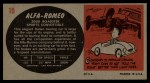 1961 Topps Sports Cars #10   Alfa-Romeo 2000 Roadster Back Thumbnail