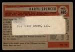 1954 Bowman #185 ERR Daryl Spencer  Back Thumbnail