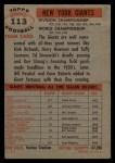 1956 Topps #113   Giants Team Back Thumbnail