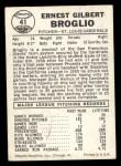 1960 Leaf #41  Ernie Broglio  Back Thumbnail