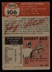 1953 Topps #106  Johnny Antonelli  Back Thumbnail
