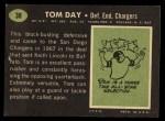1969 Topps #38  Tom Day  Back Thumbnail