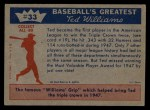 1959 Fleer #33   -  Ted Williams  Another Triple Crown Back Thumbnail