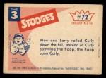 1959 Fleer Three Stooges #72   Give Me Back My Hula Hoop  Back Thumbnail