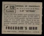1950 Topps Freedoms War #120   C-47 Skytrain  Back Thumbnail