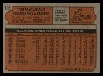 1972 Topps #139  Tim McCarver  Back Thumbnail
