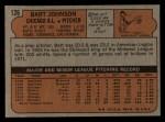 1972 Topps #126  Bart Johnson  Back Thumbnail
