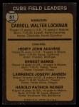 1973 Topps #81 NAT  -  Whitey Lockman / Hank Aguirre / Ernie Banks / Larry Jansen / Pete Resier Cubs Leaders Back Thumbnail