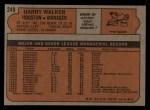 1972 Topps #249  Harry Walker  Back Thumbnail