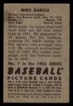 1952 Bowman #7  Mike Garcia  Back Thumbnail