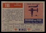 1952 Topps Wings #196   TE-1 Buckaroo Back Thumbnail