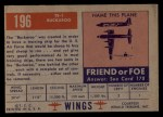 1952 Topps Wings #196   TE-1 Buckaroo Back Thumbnail