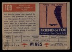 1952 Topps Wings #109   Nord 1601 Back Thumbnail