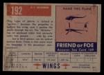 1952 Topps Wings #192   C-1 Skimmer Back Thumbnail