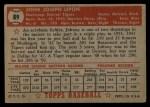 1952 Topps #89  John Lipon  Back Thumbnail