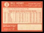 1964 Topps #49  Bill Henry  Back Thumbnail