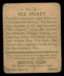 1933 Goudey Indian Gum #26  Red Jacket   Back Thumbnail