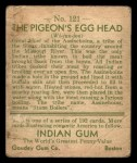 1933 Goudey Indian Gum #121   The Pigeon's Egg Head  Back Thumbnail