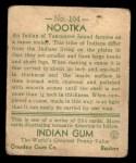1933 Goudey Indian Gum #104   Nootka  Back Thumbnail