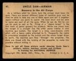 1941 Gum Inc Uncle Sam #41   Gunnery In The Air Corps Back Thumbnail