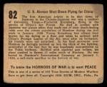 1938 Gum Inc. Horrors of War #82   US Airman Shot Down Flying for China Back Thumbnail