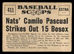 1961 Nu-Card Scoops #411   -   Camilo Pascual  Camilo Pascual Striles Out 15 Bosox Back Thumbnail